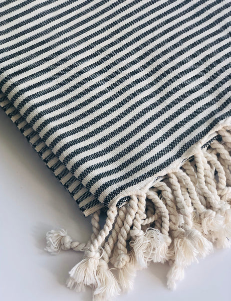 Black Stripe Turkish Towel