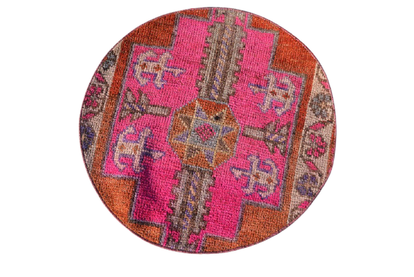 Round Turkish Rug 2.3 x 2.3 ft