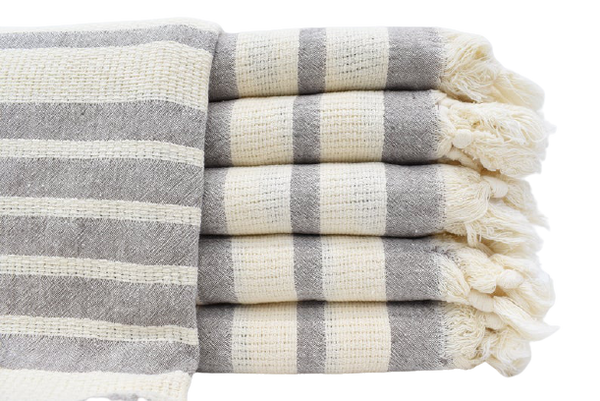 Gray Stripe Turkish Towel