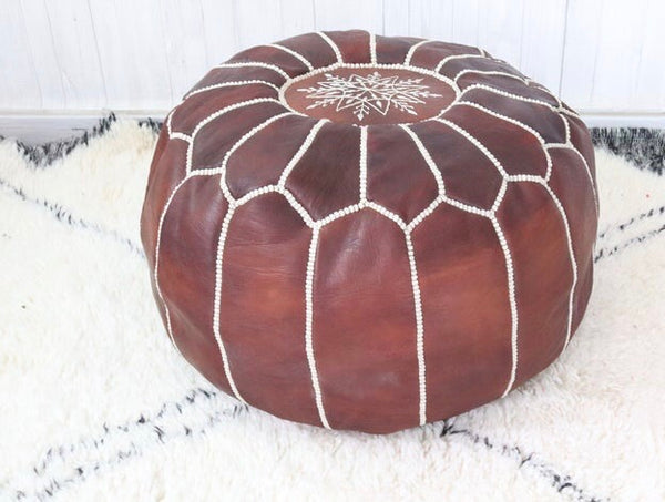 Moroccan Leather Pouf| Dark Brown