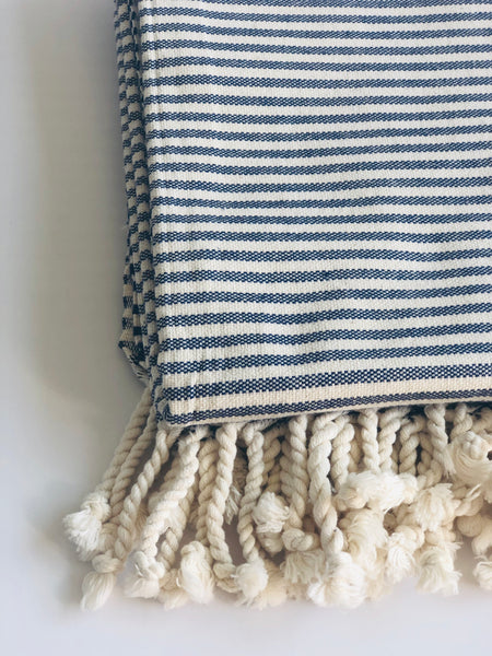 Navy Stripe Turkish Towel