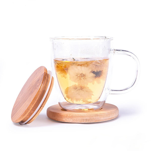 Eco-Friendly Insulated Glass Tea Mug with Bamboo Lid