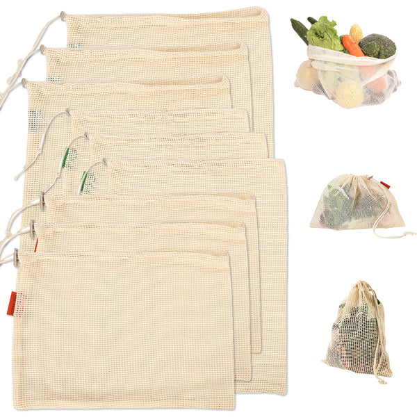 Set of 9 Eco Storage Bags for Fruit and Vegetables