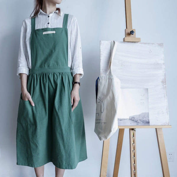 Nordic Style Cotton Hemp Apron for Batch Cooking