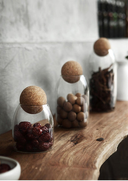 Natural Glass & Cork Storage Bottles