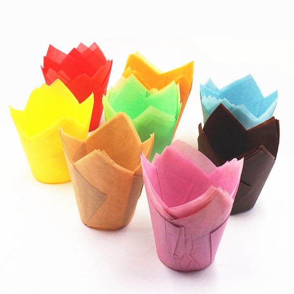 50 Colourful Party Flower Muffin Wrapper