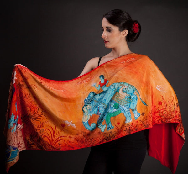Art Wrap Shawls With Silk or Velvet Backing (choose from 4 designs)