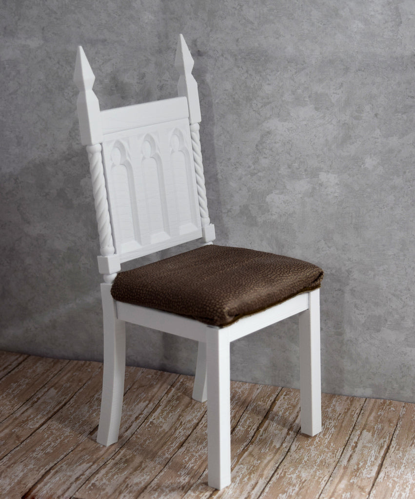 3D printed white gothic chair 1/4 MSD size