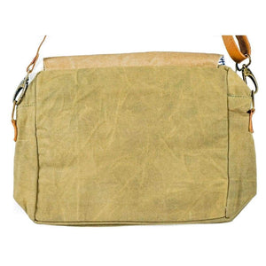 Vintage Handmade Jasmine Recycled Canvas Messenger Bag - Vintage Leather