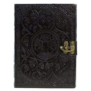 Vintage Handmade Leather Journal - Tree Of Life Black - Vintage Leather