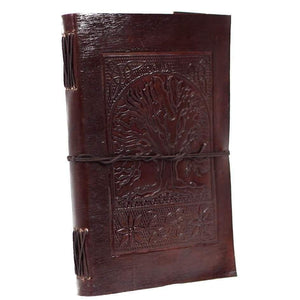 Vintage Handmade Leather Journal - Tree Of Life Brown - Vintage Leather