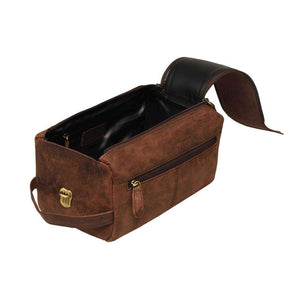Vintage Handmade Leather Toiletry Bag, Toiletry Travel Bag, Travel Organizer Case - Vintage Leather