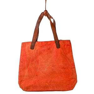 Vintage Recycled Canvas Tote Bag - Cosmos Pink - Vintage Leather