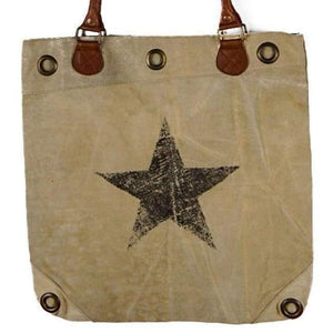 Vintage Recycled Canvas Tote Bag - Daisy - Vintage Leather