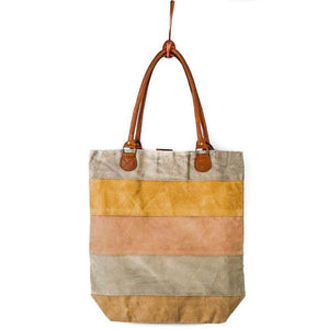 Vintage Recycled Canvas Tote Bag - Jacaranda - Vintage Leather