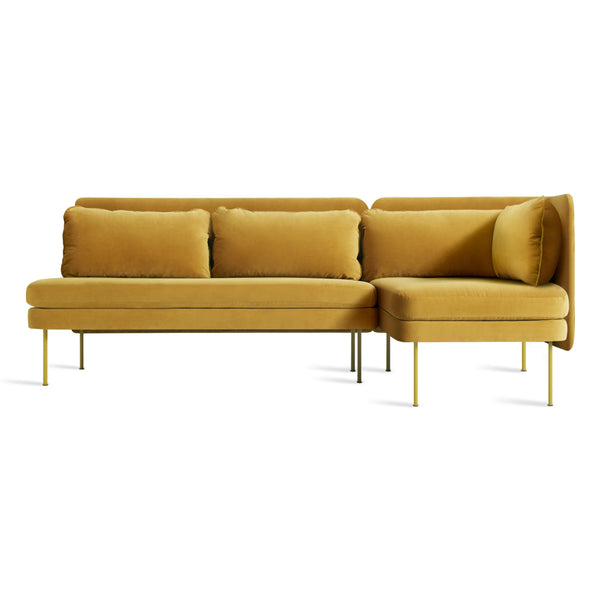 bloke velvet armless sofa with right arm chaise