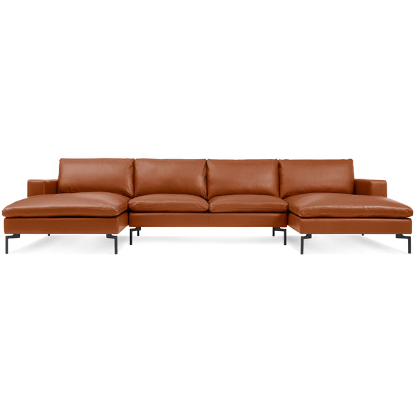 new standard leather u-shaped sectional