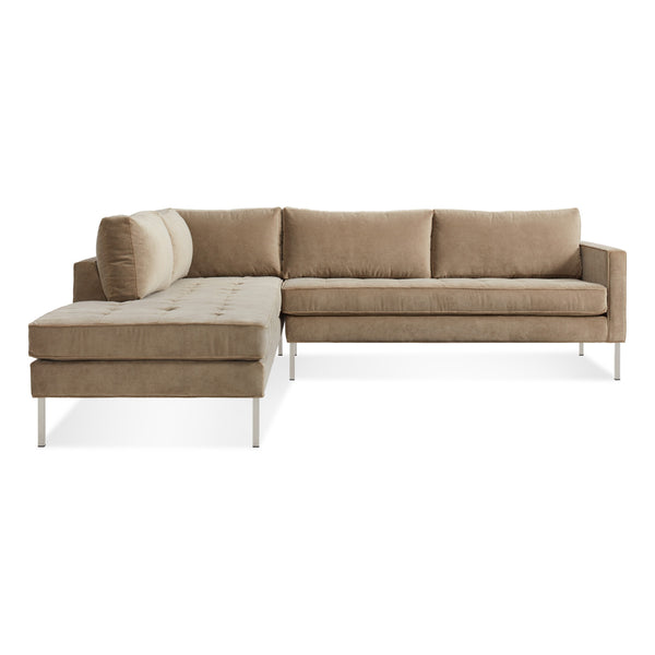 paramount velvet sectional sofa