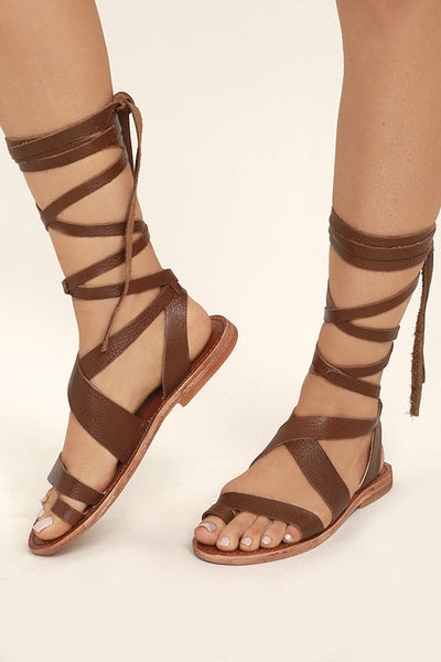 Zaylee Brown Lace-Up Sandals