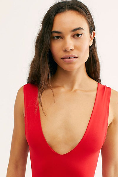 Keep It Sleek Bodysuit // Red