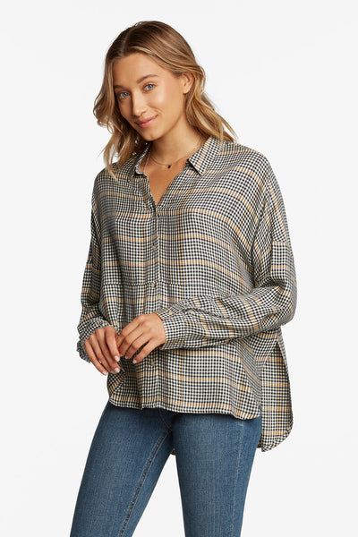 Amanda Plaid Button Down Blouse