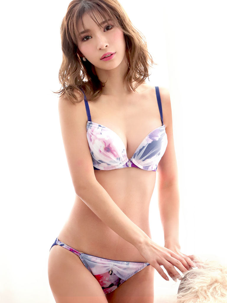 Unicolor Flower Satin Bra & Panty