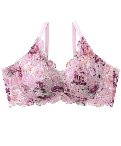 Side Slimming Lacy Push-Up Bra in Rose Print