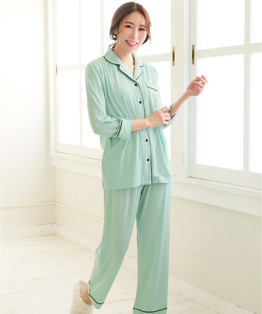 Plain Pajamas Top-Bottom Set