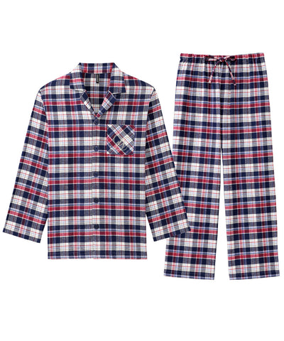 Pajamas Flannel shirt Top-Bottom Set