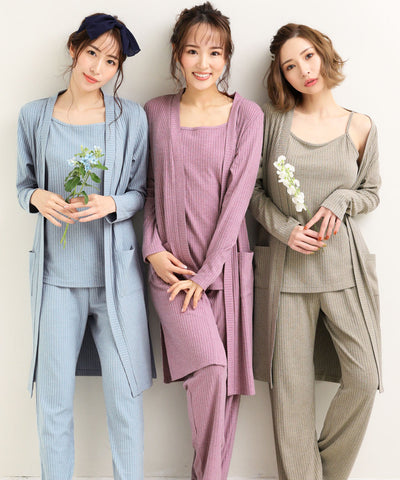 Rib 3-piece loungewear set