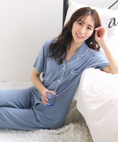 Cool Touch Material Pajamas Top-Bottom Set