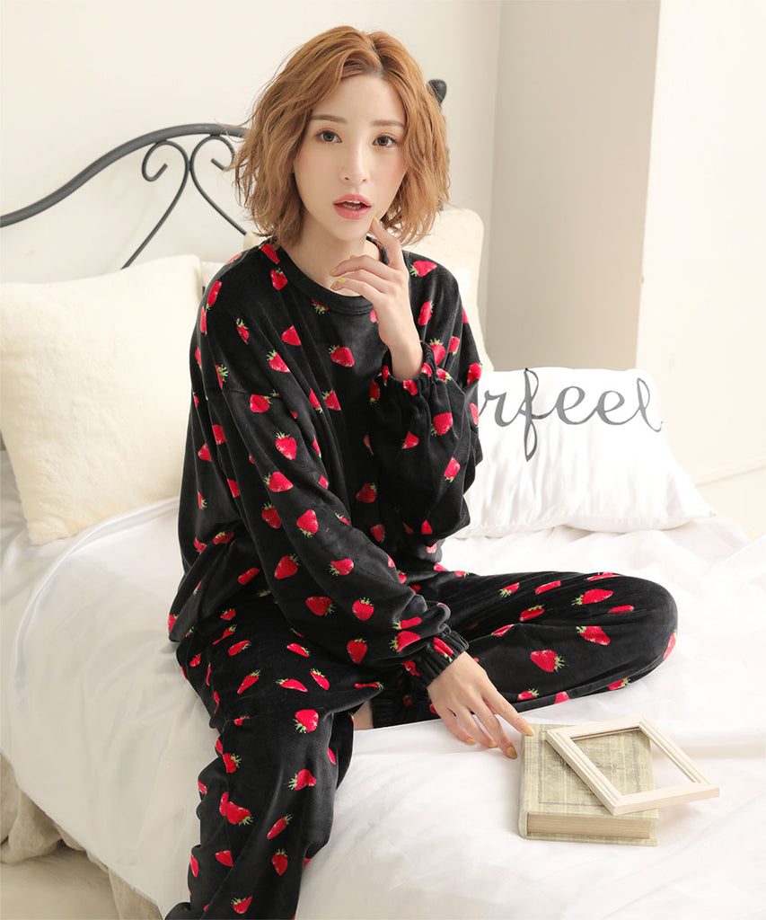 Soft Boa Fleece Pajamas  Top and Bottom Set