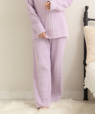 Rib Chiffon Knit Long Pant