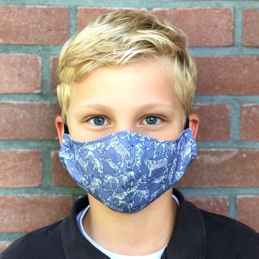 Face mask tigers available in four sizes, fashion, blue face mask, mondkapje kind,