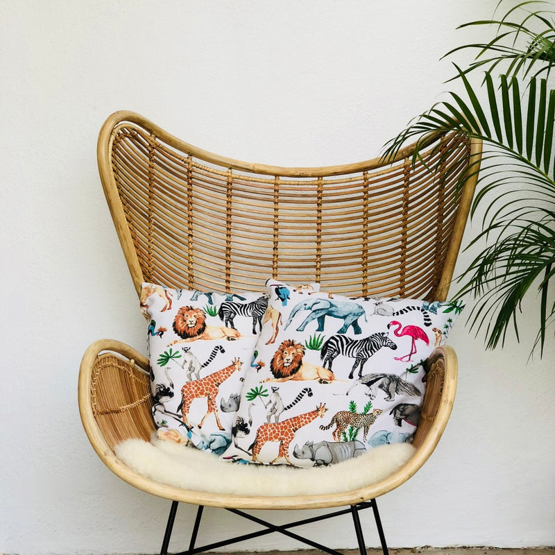 This awesome animal print works so well on a cushion. Kids will love the way the animals are drawn, like real with friendly faces. They will keep guard while your child dreams the night away