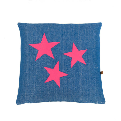 Cushion Blue with pink stars