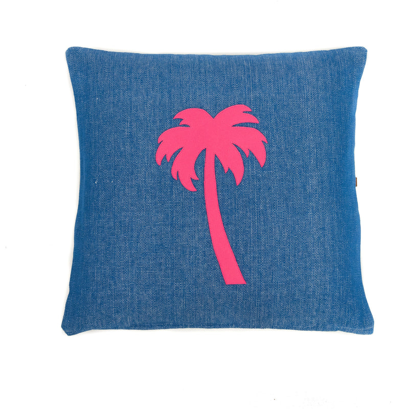 Cushion Blue with pink palm tree