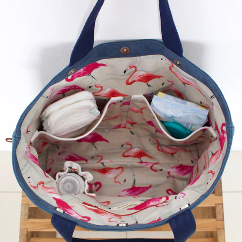 Diaper Bag - Blue / Dancing flamingos