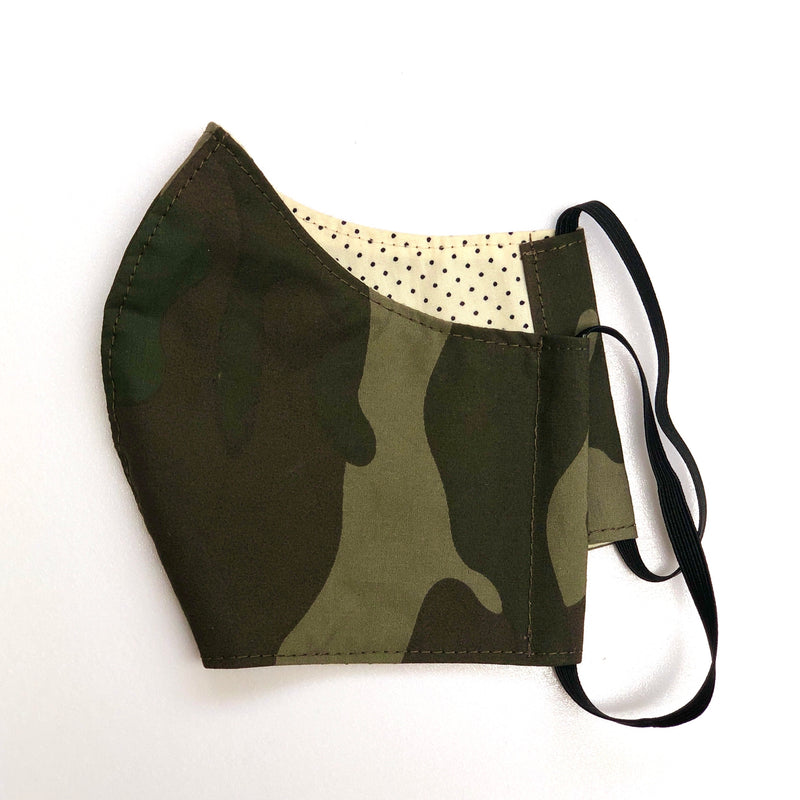 Face Mask - Army / Dots