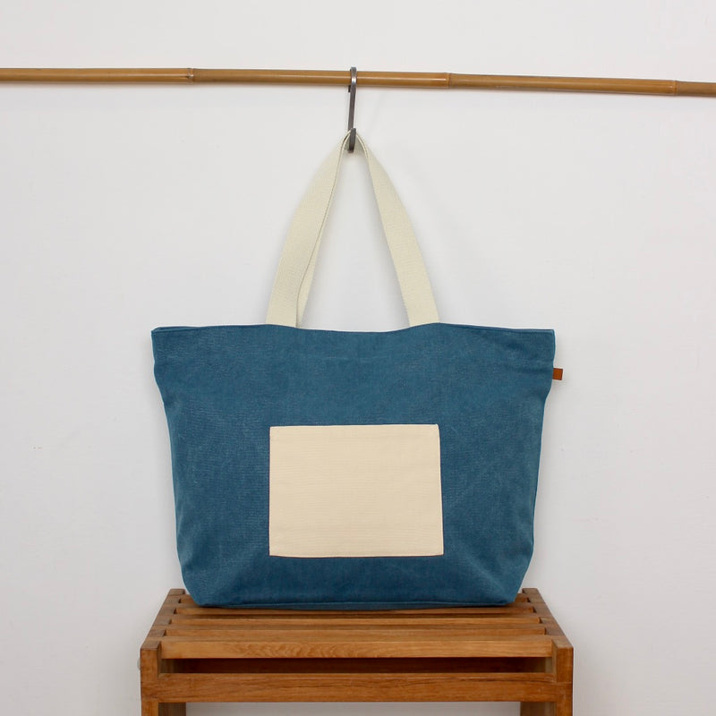 Beach Bag - Blue / Cranes