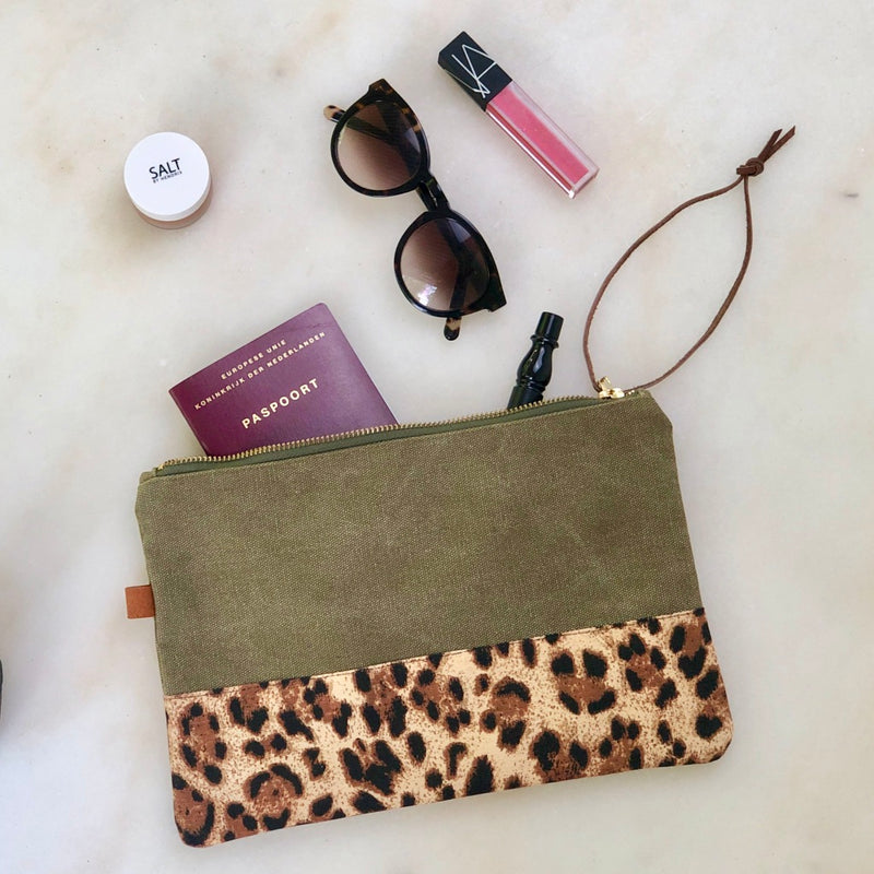 Pouch - Army / Leopard gold