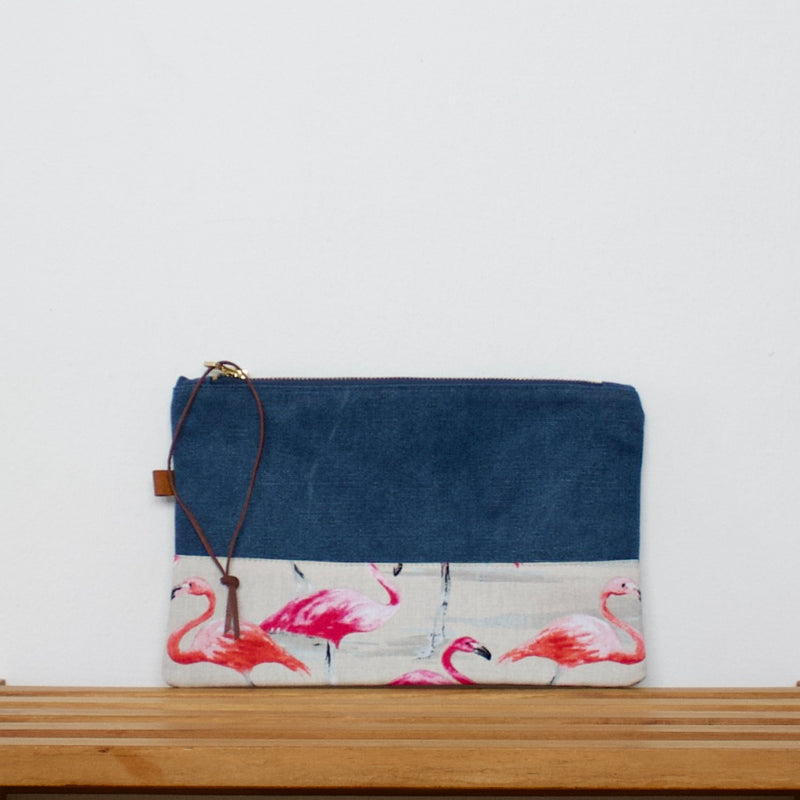 Pouch - Blue / Flamingos