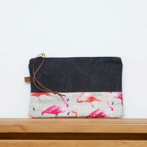 Pouch - Dark grey / Flamingos