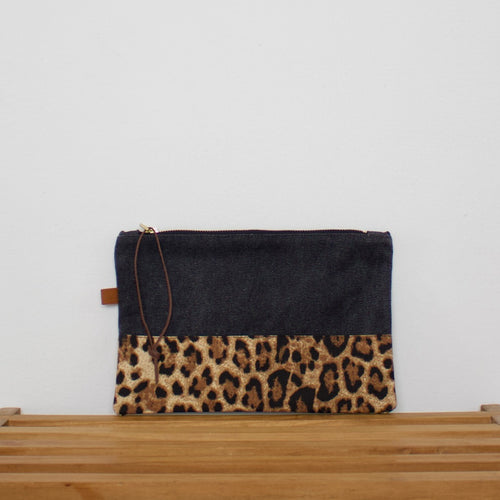 Pouch - Dark grey / Leopard gold
