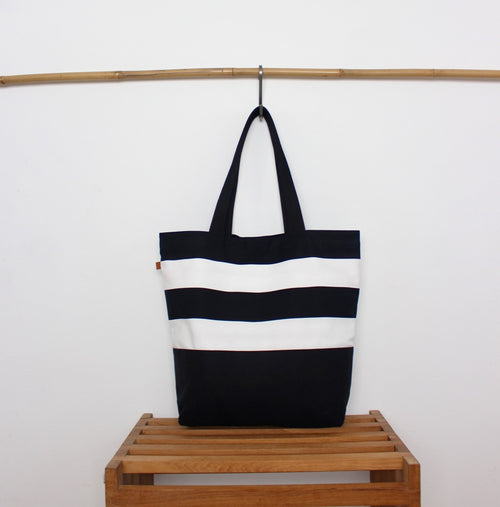 Tote Bag - Stripes / Dancing flamingos