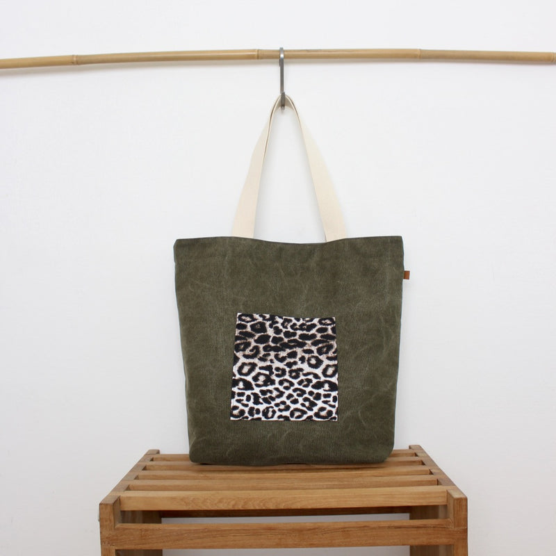 Tote bag - Army green / Leopard snow