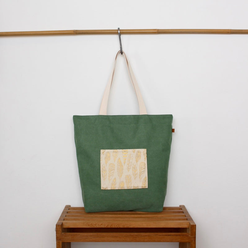 Tote bag - Green / Golden feathers