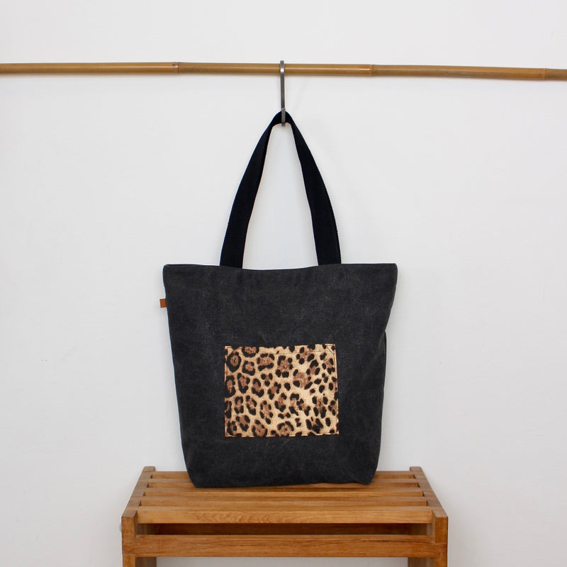 Tote bag - Dark grey / Leopard gold