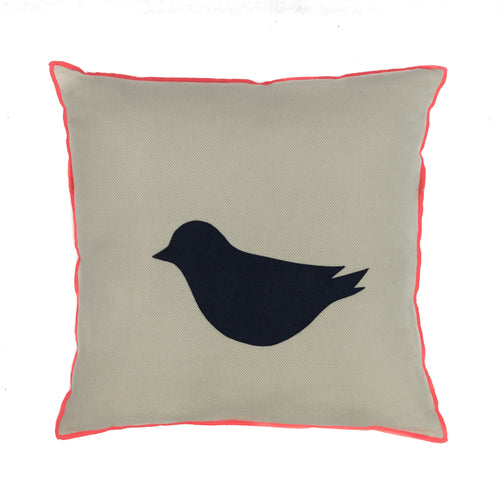 Cushion White with blue bird