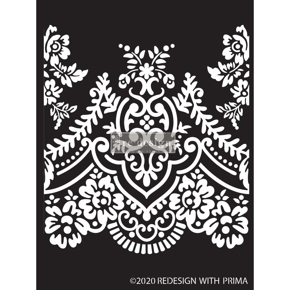 Elegant Lace stencil by redesign with Prima – 9″X13.5″